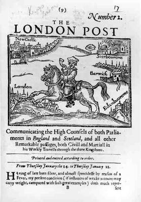 Titlepage of 'The London News', Communicating the High Counsels of Both Parliaments in England and Scotland