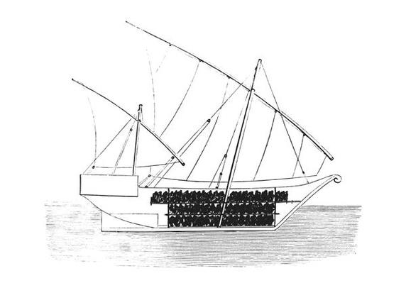 Section of Vessel, Showing the Manner of Stowing Slaves on Board