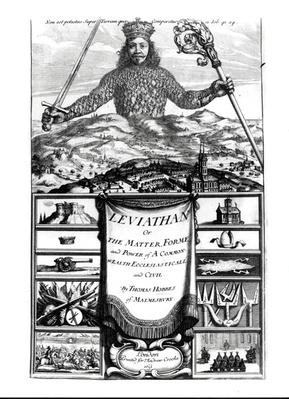 Frontispiece to 'Leviathan or the Matter, Forme and Power of a Common Wealth Ecclesiasticall and Civil', 1651, by Thomas Hobbes