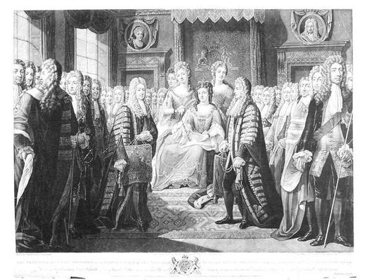 The Articles of the Union Presented by the Commissioners to Queen Anne, 1706, plate 12 from 'Historic Acts of the Queens of England', engraved by Valentine Green
