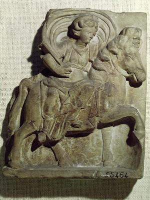 Relief of Epona, Gaulish goddess, protector of horses, riders and travellers, from Gannat, Allier, c.50 BC-400 AD
