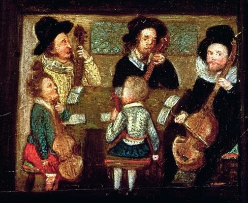 Musicians at Wadley House, detail from The Life and Death of Sir Henry Unton