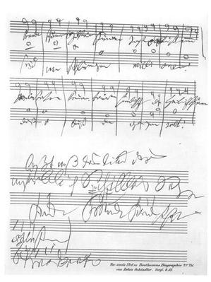 Facsimile of a page of music from the 'Biography of L. van Beethoven' by Anton Schindler