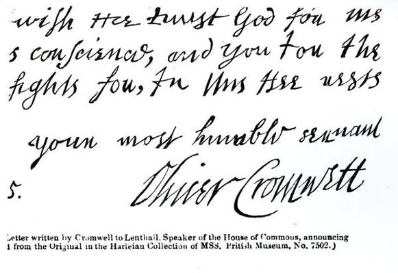 Signature of Oliver Cromwell