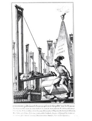 Robespierre Guillotining the Executioner having Guillotined all the French People, c.1793