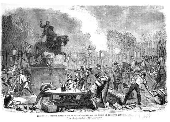 The Bristol Reform Riots, scene in Queen's Square on the Night of the 30th October 1831