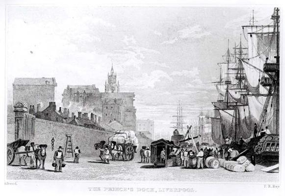 The Prince's Dock, Liverpool, engraved by F.R. Hay, c.1830