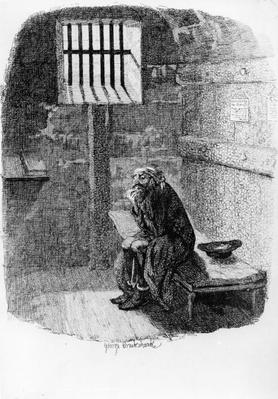 Fagin in the Condemned Cell, illustration from 'Oliver Twist' by Charles Dickens, 1838