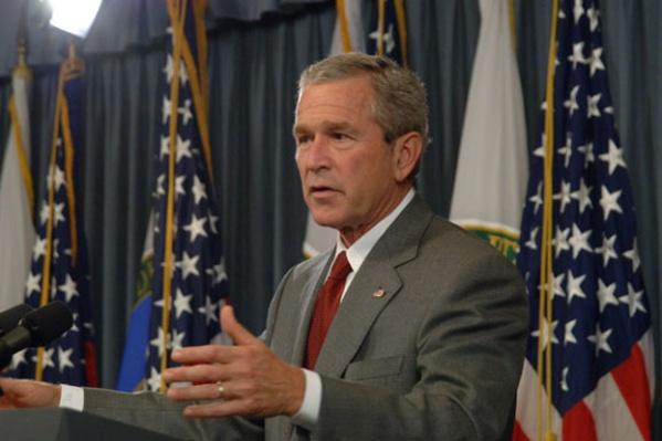President George Bush giving press conference, at Department of Energy, Washington, D.C.