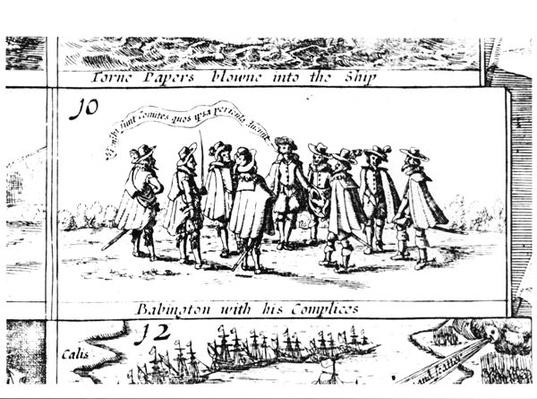 Babington and his Accomplices, detail from Popish Plots and Treasons, engraved by Cornelis Danckerts