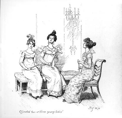 'Offended two or three young ladies', the Bingley sisters from 'Pride and Prejudice' by Jane Austen, 1894