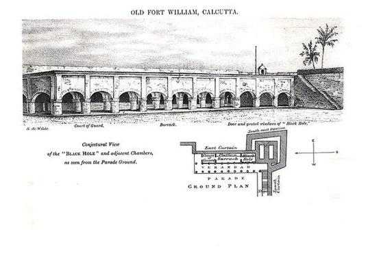 Old Fort William, Calcutta, with a Conjectural View of the 'Black Hole' and Adjacent Chambers as seen from the Parade Ground