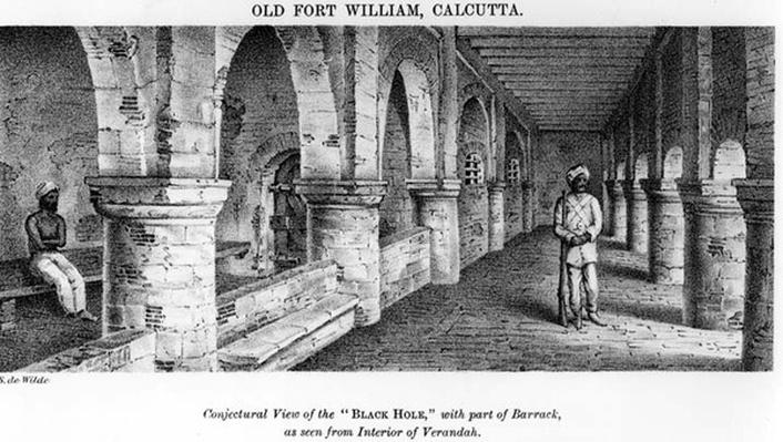 Old Fort William, Calcutta, with a Conjectural View of the 'Black Hole', with Part of the Barrack, as seen from the Interior of the Verandah
