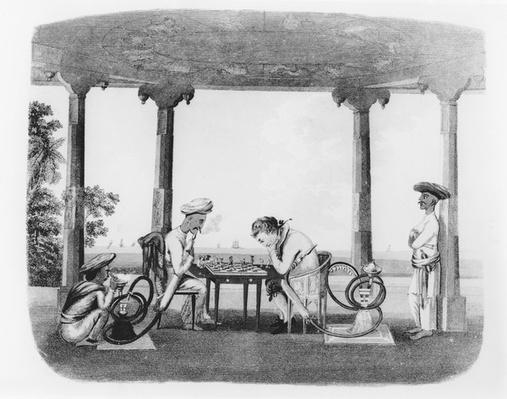 Smoking the Hookah, plate 43 from 'Oriental Drawings', engraved by T. Rickards, pub. 1806