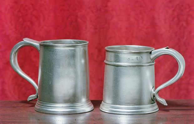 Tankards, left to right: by Timbrell and Bentley of London, 1713; by Nathaniel Locke of London, 1716