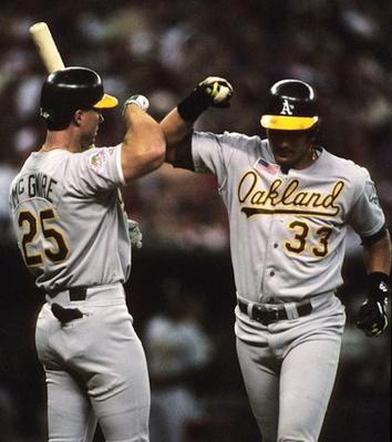 "The ""Bash Brothers"" Mark McGwire and Jose Canseco 