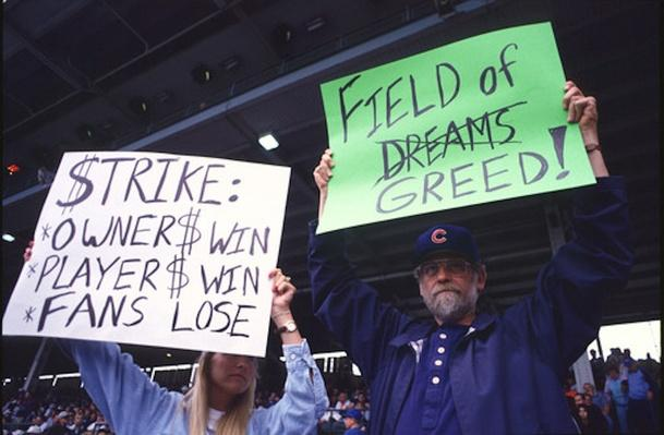 Fans Hold Signs During The Baseball Strike on August 10, 1994 | Ken Burns: Baseball: The Tenth Inning