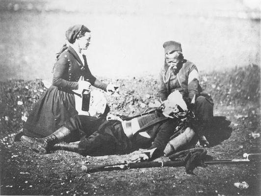 A Nurse Tending a Wounded Man in the Crimea, c.1855
