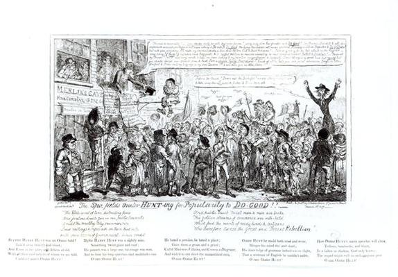 The Spa Fields Orator Hunt-ing for Popularity to Do-Good!!, pub. by J. Sidebotham, 1817