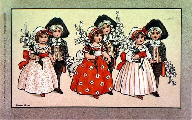 Lilies, Victorian card