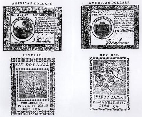 A colonial six dollar bill of 1776 and an American fifty dollar bill of 1779
