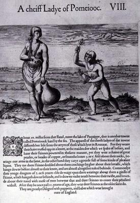Indian Woman and Young Girl, engraved by Theodor de Bry