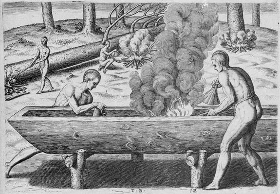 Indians Making Canoes, from 'Admiranda Narratio', engraved by Theodor de Bry