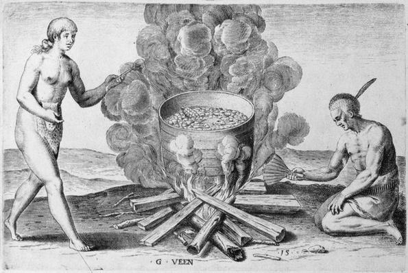 Cooking in a Pot, engraving by Gysbert van Veen