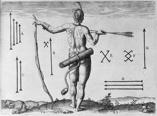 Indian Markings, engraved by Theodor de Bry