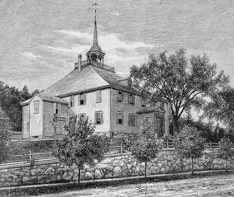 Meeting House at Hingham, illustration from Volume III of 'Narrative and Critical History of America', 1886