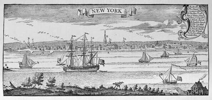 New York in 1732, illustration from Volume V of 'Narrative and Critical History of America', 1887