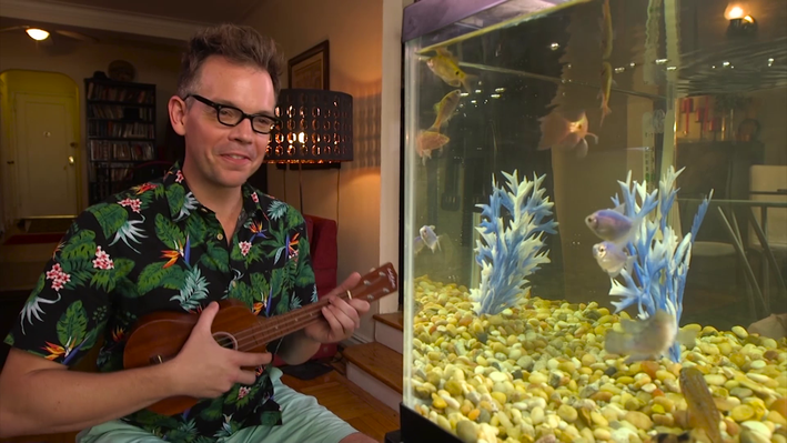 Man playing instrument before fish tank