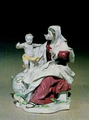 Chelsea figure of Madonna and Child, Red Anchor period, c.1755
