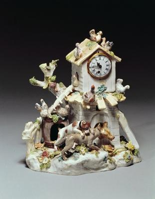 Chelsea porcelain farmyard clock case, Red Anchor period, c.1755