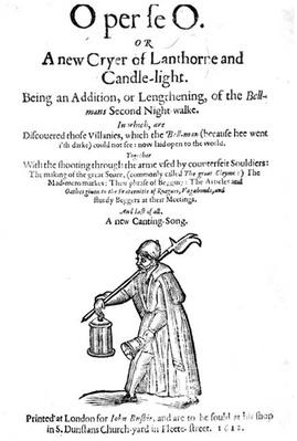 O per se O, or A New Cryer of Lanthorne and Candle-Light, title page from a book, printed by John Busbie, 1612