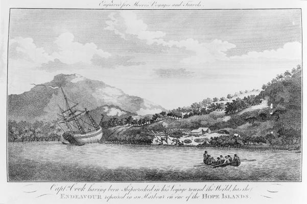 Captain Cook having been shipwrecked in his voyage round the world has the Endeavour repaired in a harbour on one of the Hope Islands