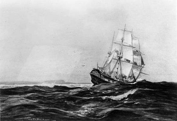 The Endeavour at Sea, 1900, engraved by Lowy