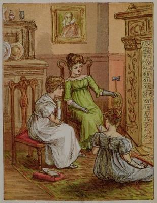 Card depicting a fireside scene