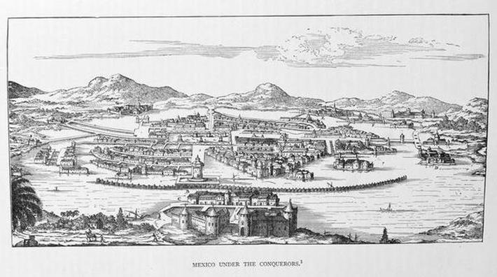 Mexico City Under the Conqueror, from 'The Narrative and Critical History of America', edited by Justin Winsor, London, 1886