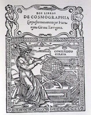 Title Page for Two Books of Cosmography by Hieronymo Girana Tarragones