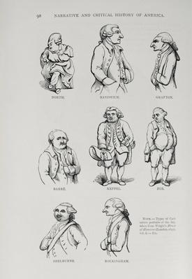 Caricatures from 'The Narrative and Critical History of America', edited by Justin Winsor, London, 1886