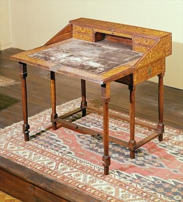 Writing desk, walnut with arabesque marquetry, c.1690