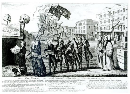 The Repeal, or the Funeral Procession of Miss Americ-Stamp, pub. 1766