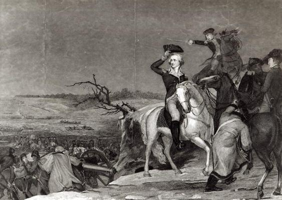 The Passage of the Delaware in 1776, engraved by J.N. Gimbrede for 'The New York Mirror' (engraving) (b&w photo) by Sully, Thomas (1783-1872) (after)