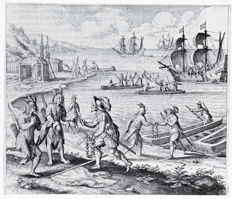 English Trading with Indians of the West Indies, from 'Americae', written and engraved by Theodor de Bry