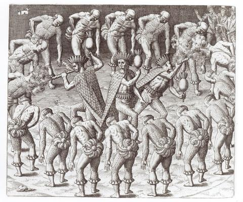 Johannes Lerii's Account of the Caraibe Indians, from 'Americae', 1593, written and engraved by Theodor de Bry