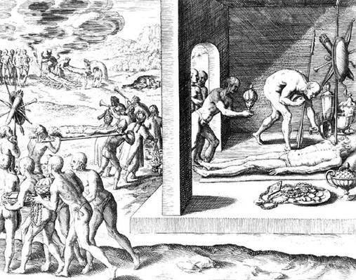 Indian funeral rites, from 'Americae', written and engraved by Theodor de Bry