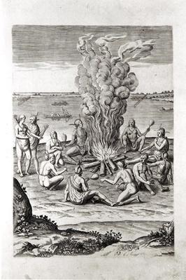 Indians praying around a fire, engraving from Hariot's 'A Briefe and True Report of...Virginia', 1590, engraved by Theodor de Bry