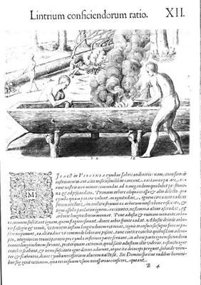 Virginia Indians making dugout boats, from 'Americae', written and engraved by Theodor de Bry