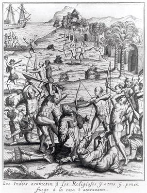 The Indians attacking the priests and others and setting fire to their houses, engraving from 'Americae', written and engraved by Theodor de Bry